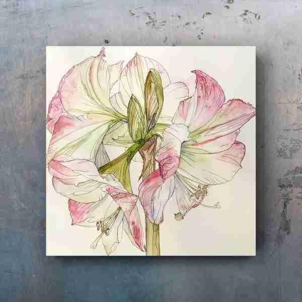 pink_amaryllis-painting_on_metal_wall