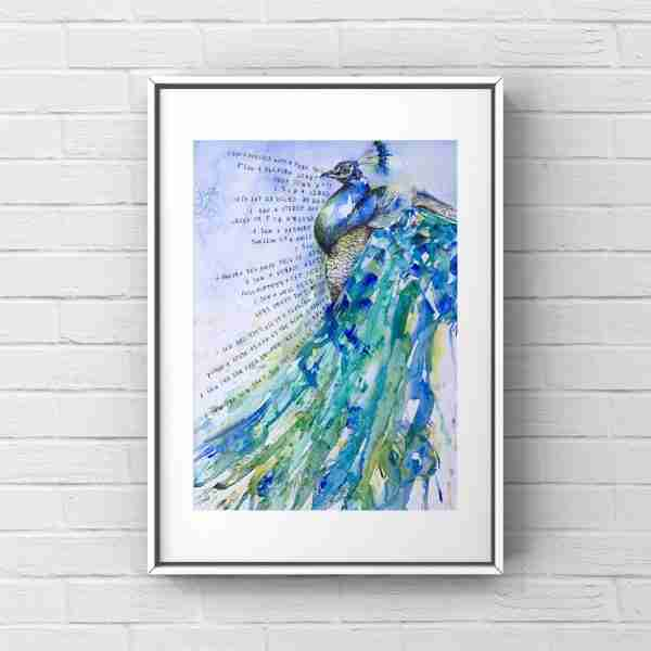 blue_peacock_painting_framed