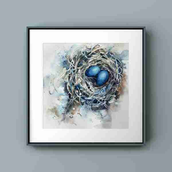 painting of a nest framed